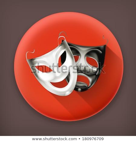 Dramat maska app ikona długo cień Zdjęcia stock © Anna_leni