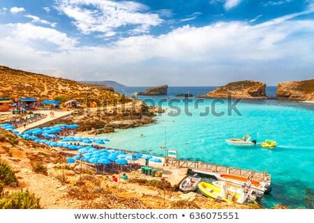 Malta · pequeño · pueblo · playa · cielo · agua - foto stock © stevanovicigor