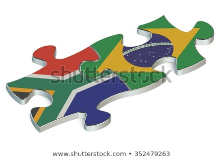 Stock photo: South Africa and Brazil Flags in puzzle