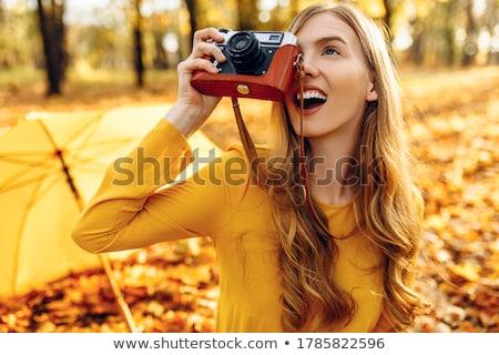 jeune · femme · automne · forêt · femmes · sexy · heureux - photo stock © boggy