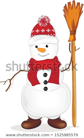 Snowman with broom Stock photo © filipw