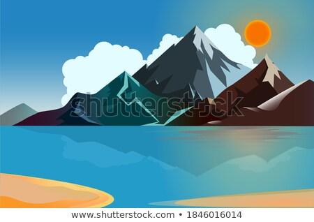 синий · серый · пород · пейзаж · горные · каменные - Сток-фото © morrbyte