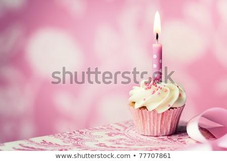 Születésnapi buli rózsaszín csésze pöttyös áll asztal Stock fotó © dash