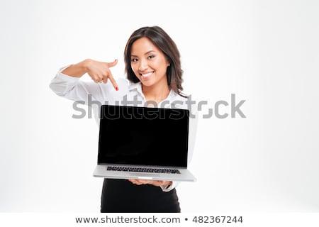 Mujer de negocios ordenador portátil Screen sonriendo aislado Foto stock © deandrobot