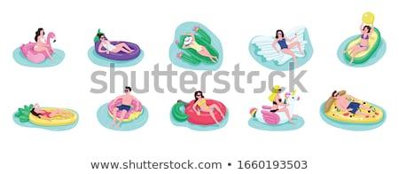 Nina tomar el sol aire colchón hermosa niña piscina Foto stock © deandrobot
