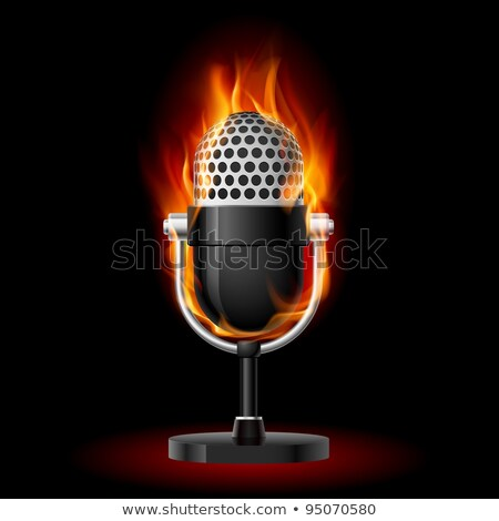Stock fotó: Microphone On Fire And Water