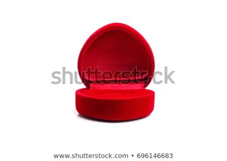 Stock fotó: Jegygyűrű · elegáns · doboz · izolált · fehér · piros