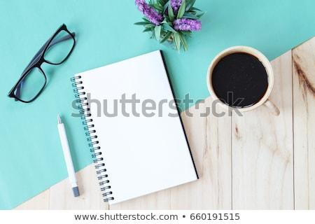 ストックフォト: 青 · 鉛筆 · 図書 · カップ · コーヒー · 白