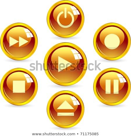 Spelen vector goud web icon knop Stockfoto © rizwanali3d