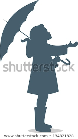 Silhouette child with umbrella Stock photo © -TAlex-