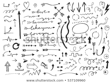 doodle · pijl · hart · icon · Blauw · pen - stockfoto © pakete