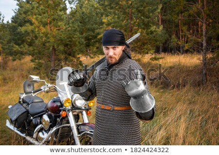 motorcyclist and his bike in forest Stock photo © Paha_L
