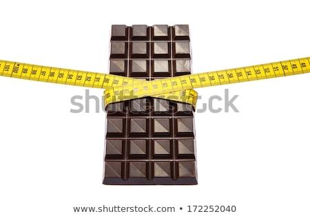 Chocolate fita métrica realista branco dieta comida Foto stock © m_pavlov