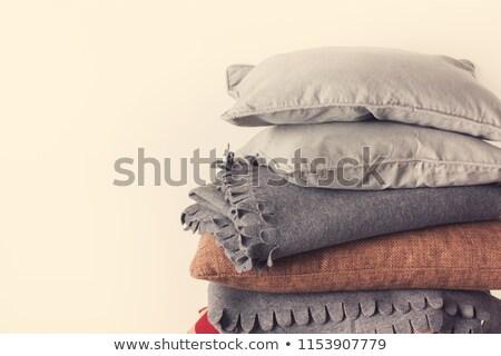 Azul travesseiro isolado branco textura Foto stock © shutswis