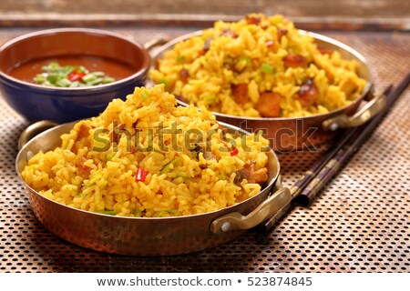 cuchara · marrón · arroz · fondo · chino - foto stock © azamshah72