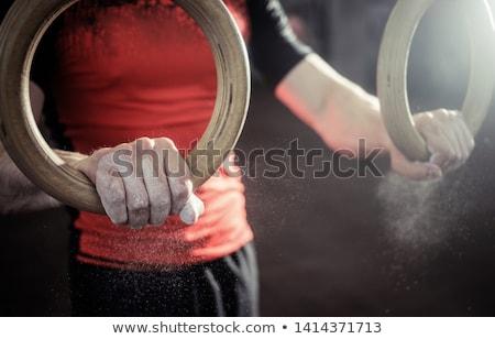 Közelkép kilátás gimnasztikai gyűrűk crossfit tornaterem Stock fotó © wavebreak_media