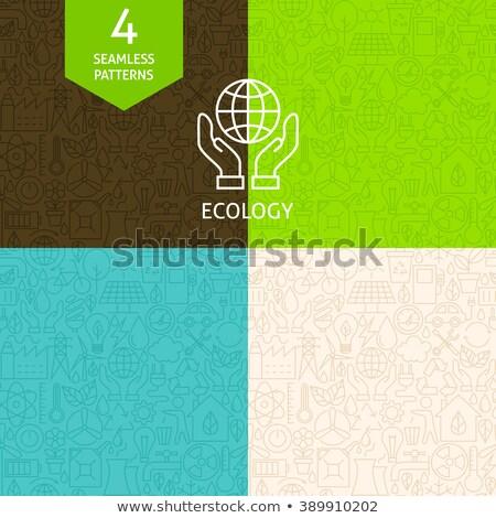 Dun lijn kunst groene energie ecologie patroon Stockfoto © Anna_leni