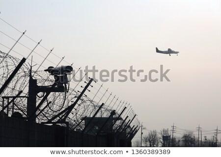 Foto stock: Avião · voador · cctv · câmeras · composição · digital · relógio