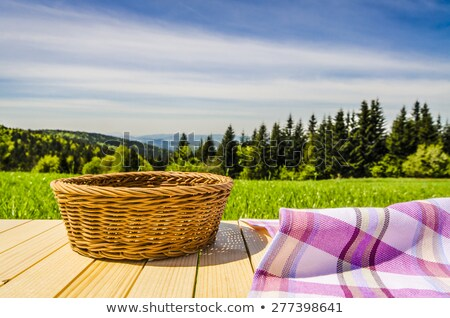 Stock photo: Wicker basket with garden tools in grass
