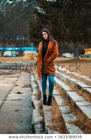 gülen · güzel · genç · kadın · uzun · saçlı · kış · orman - stok fotoğraf © deandrobot
