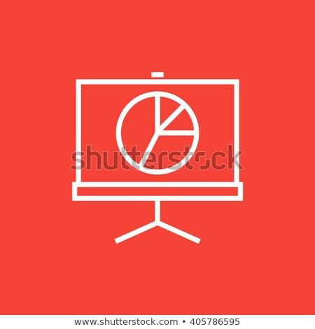 Projector scherm lijn icon hoeken web Stockfoto © RAStudio