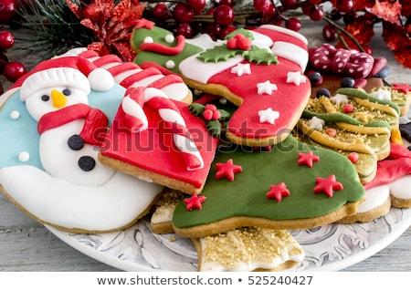 Választék karácsony sütik édes arany tányér Stock fotó © Digifoodstock