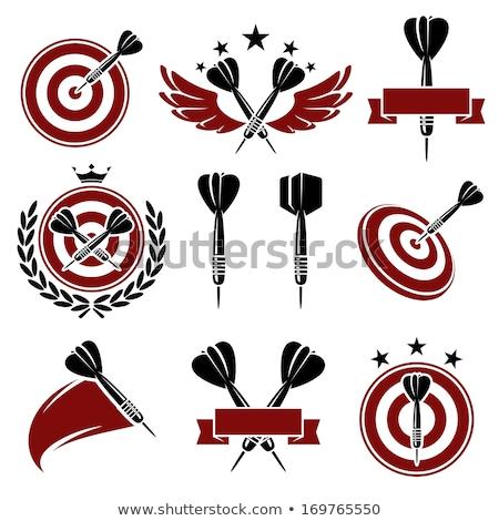 Botões dardos branco fundo vermelho aço Foto stock © bluering