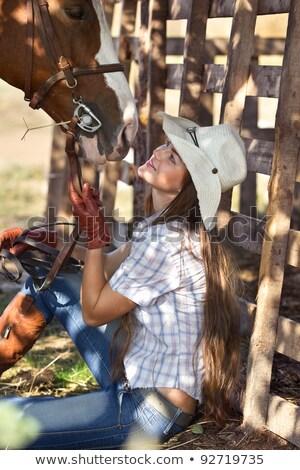 cavallo · ragazza · cappello · da · cowboy · ritratto · giovani · esterna - foto d'archivio © artfotodima