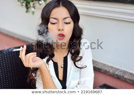 blond · roken · sigaret · jonge · mode · meisje - stockfoto © deandrobot