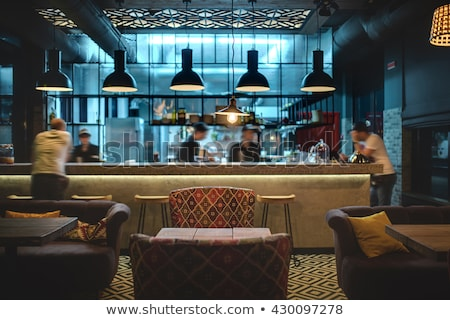 mexican · restaurants · intérieur · restaurant · table · en · bois - photo stock © bezikus