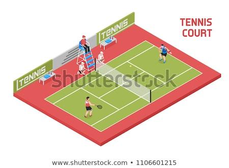 Afbeelding tennisspeler spelen tennisracket grijs Stockfoto © wavebreak_media