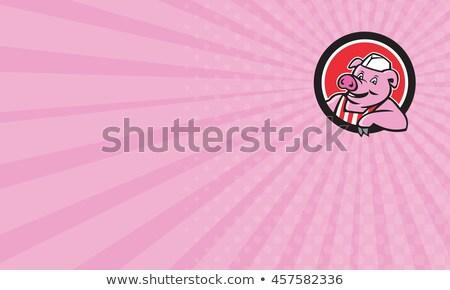 Hentes disznó dől kör rajz illusztráció Stock fotó © patrimonio
