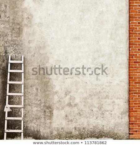 木製 階段 レンガの壁 家 建設 壁 ストックフォト © AlisLuch