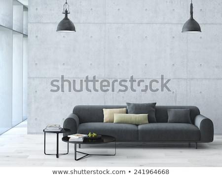 interieur · Geel · bank · witte · trillend · muur - stockfoto © kzenon