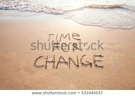 temps · apprendre · table · en · bois · mot · bureau · horloge - photo stock © fuzzbones0