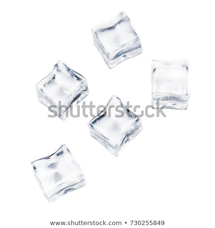 Melting transparent ice cubes on wet glass Stock photo © ironstealth