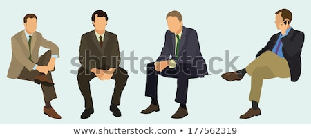 Stockfoto: Mannen · vergadering · beneden · witte · gezicht · mode