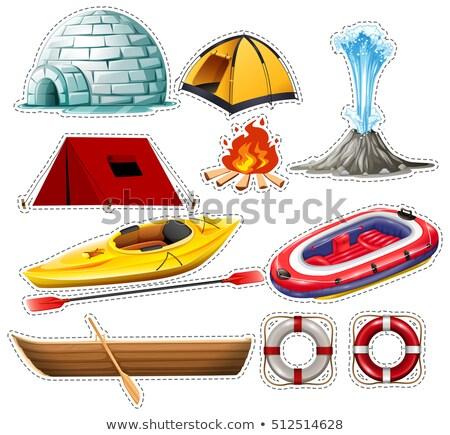 Diferente barcos camping coisas fundo arte Foto stock © bluering