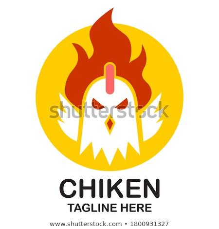 Stock fotó: Tűz · kakas · festett · fényes · fekete · szimbólum