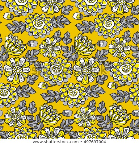 yellow decorative stylized daisy floral fall pattern. black and  Stock photo © Galyna