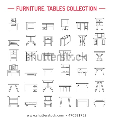 Stock photo: Vector furniture line icons, table symbols. Silhouette of different tables.