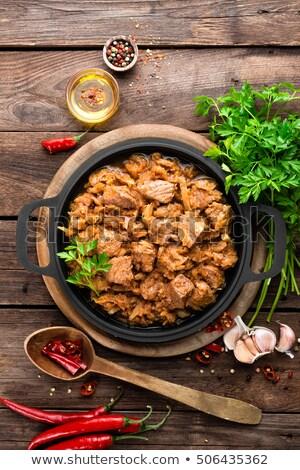 Kool kip lepel voedsel groene diner Stockfoto © user_11224430