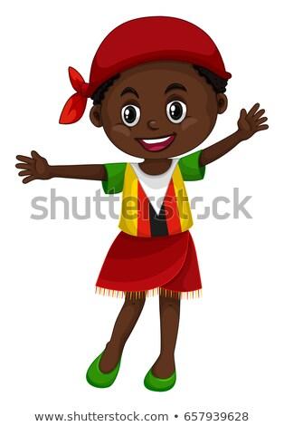 Kislány ruházat illusztráció lány boldog gyermek Stock fotó © bluering
