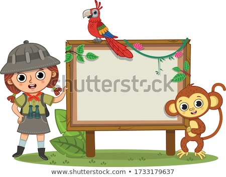 Singe fille zoo signe illustration nature Photo stock © bluering