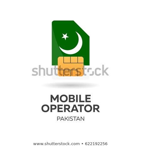 Stock photo: Pakistan mobile operator. SIM card with flag. Vector illustration.