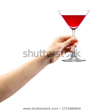 Woman hand hold cocktail straw blue on black background stock photo © Sibstock