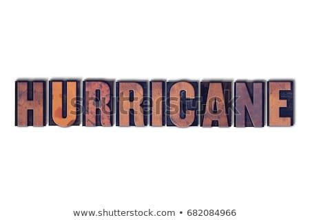 Ouragan isolé mot écrit vintage Photo stock © enterlinedesign