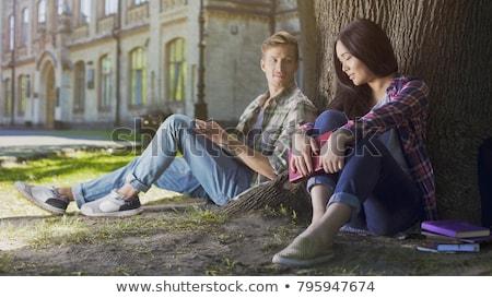 Félénk lány fickó festmény illusztráció könyv Stock fotó © izakowski