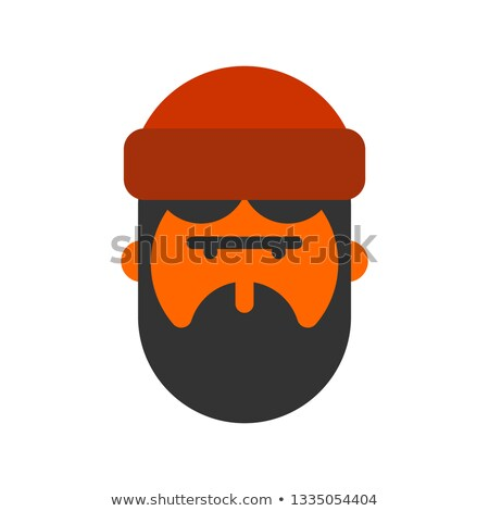 Lumberjack face. Woodcutter head. lumberman with beard and cap Stock photo © popaukropa