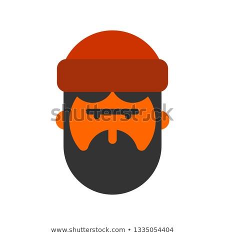 Lumberjack face. Woodcutter head. lumberman with beard and cap Stock photo © popaukropa